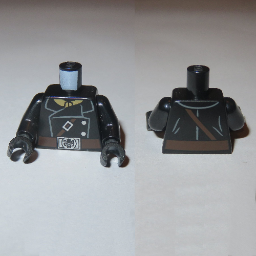 Hydra Belt Buckle Minifig Torso Jacket w// Brown Strap /& Silver Buttons LEGO