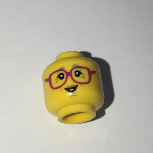 Head Female Glasses Dark Pink LEGO Minifig Gray Eyebrows /& Crow/'s Feet