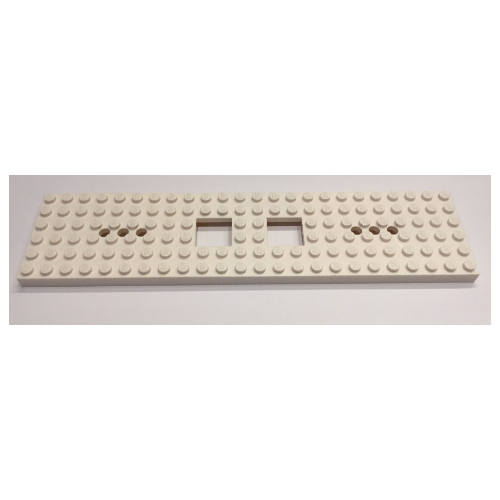 Lego BLACK Train Base 6 x 24 w// 2 Square Cutouts /& 3 Round Holes Each End 92340
