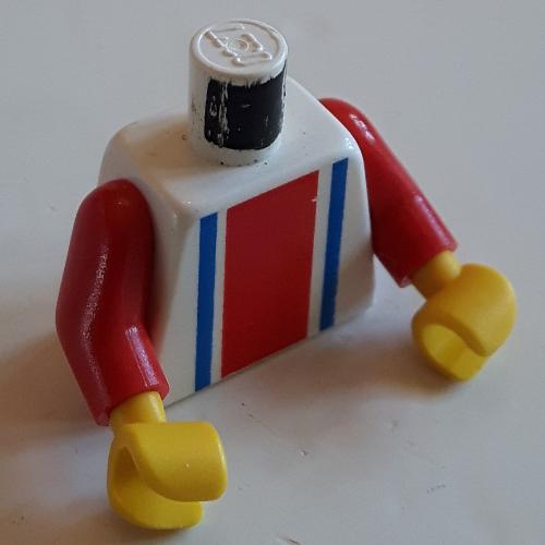 LEGO White Minifig Torso Horizontal Red Stripes Body Part