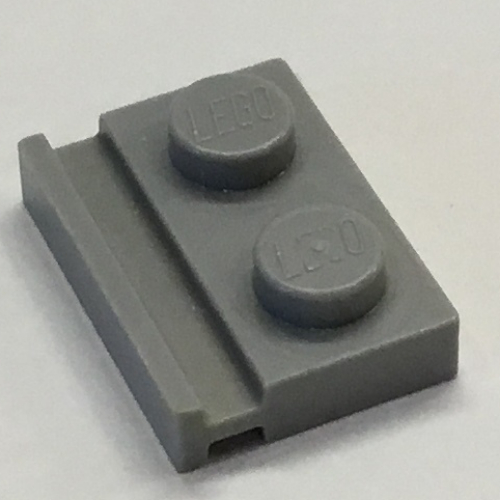 12 X Lego 32028 PLATE 1 x 2 WITH DOOR RAIL Dark Bluish Grey