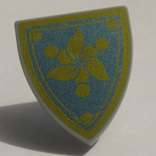 Lego Light Bluish Gray Minifig Shield Triangular Gold Flower on Blue Background